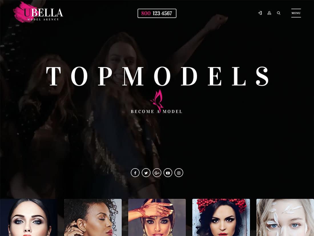 Ubella - 36+ Nice WordPress Model Agency Themes [year]