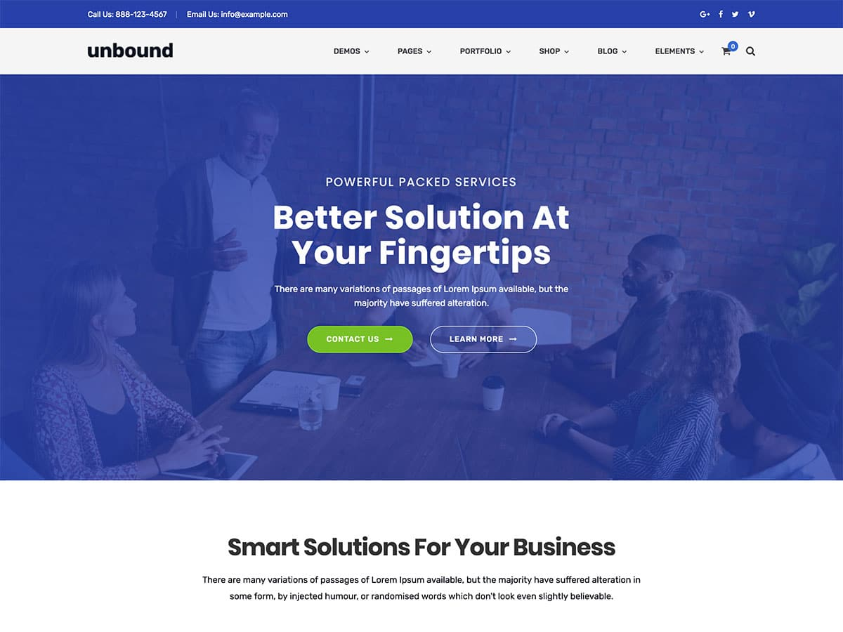 Unbound-1 - 36+ Top Quality WordPress Themes For Business [year]