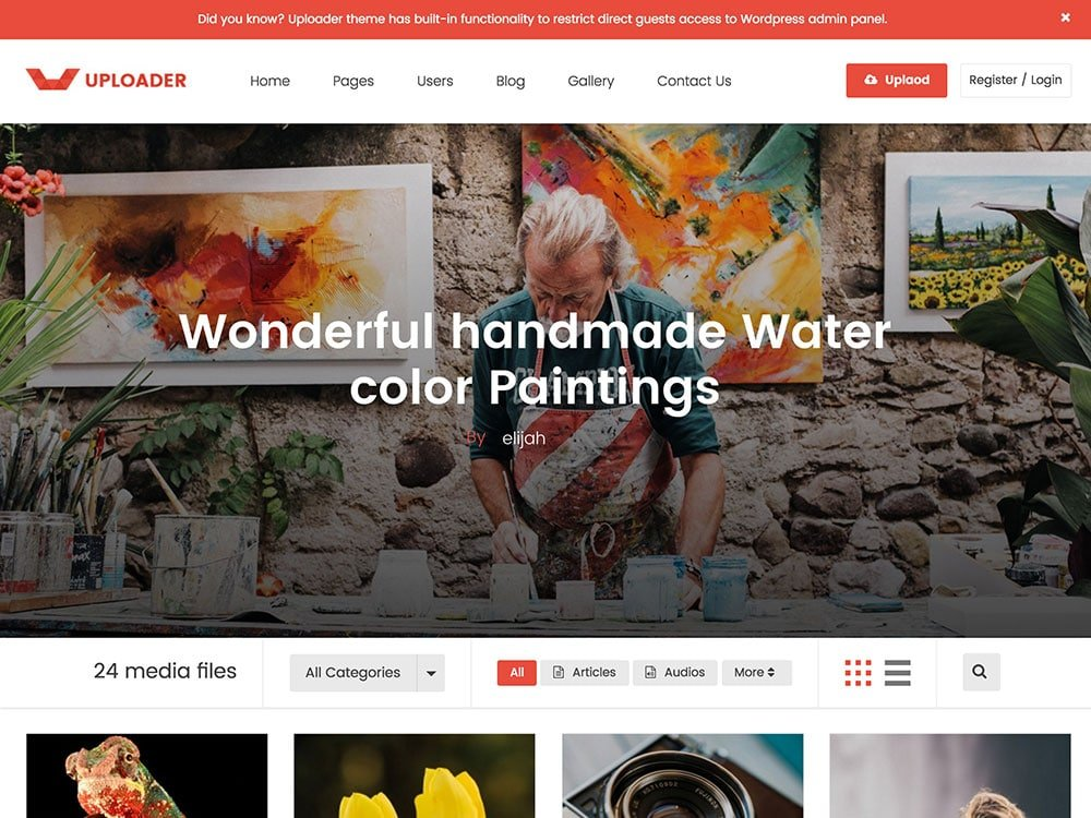 Uploader - 36+ Awesome WordPress Content Sharing Themes [year]