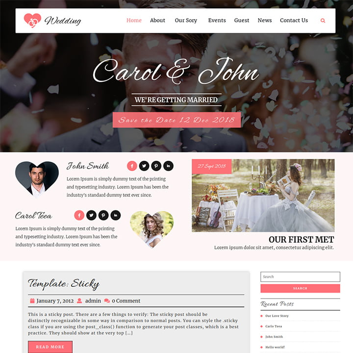 VW-wedding - 36+ Elegant Free WordPress Wedding Themes [year]