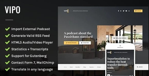 Vipo - 36+ Awesome WordPress Themes For Podcast [year]