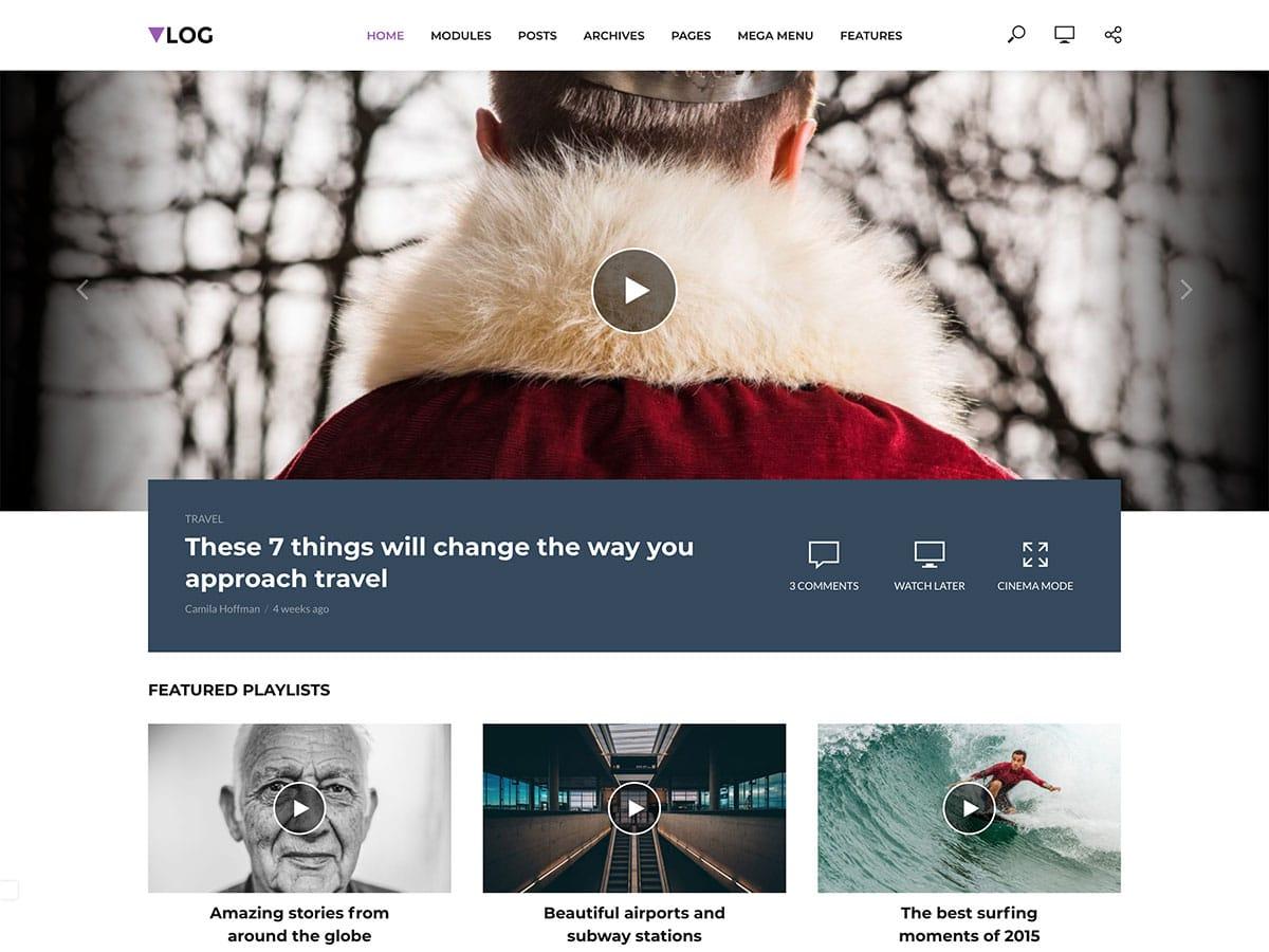 Vlog - 30+ Awesome Travel Blog WordPress Themes [year]