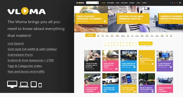 Vloma-Grid - 36+ Awesome WordPress Content Sharing Themes [year]