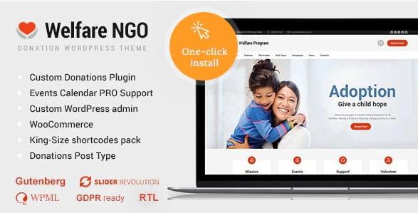 Welfare-NGO - 36+ Amazing WordPress Themes For Non-Profit, Charity [year]