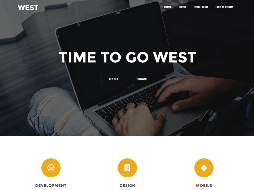 West - 46+ Best Free WordPress One Page Themes [year]