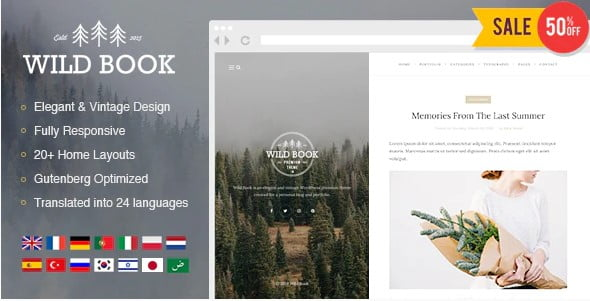 Wild-Book-1 - 35+ Nice Hunting and Weapon For WordPress Themes [year]