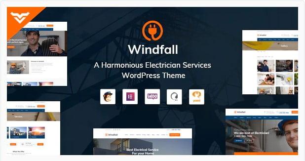Windfall - 36+ Amazing Electricians WordPress Themes [year]