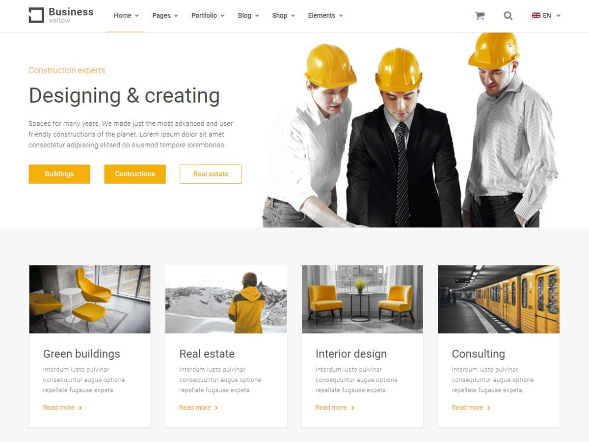 Yellow-Business - 36+ Top Quality WordPress Themes For Construction Company [year]