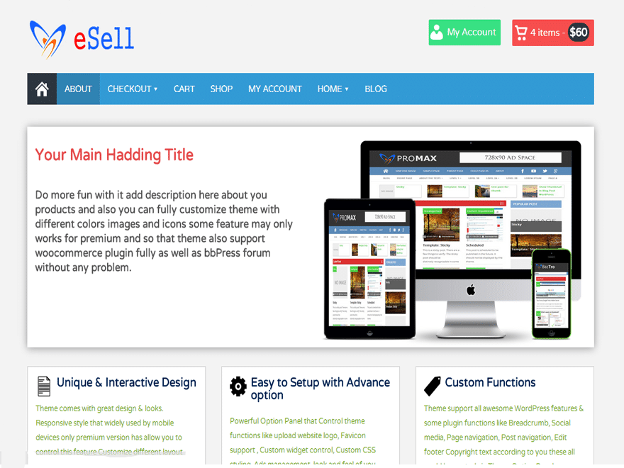 eSell - 51+ Awesome Free WordPress Themes For Ecommerce [year]