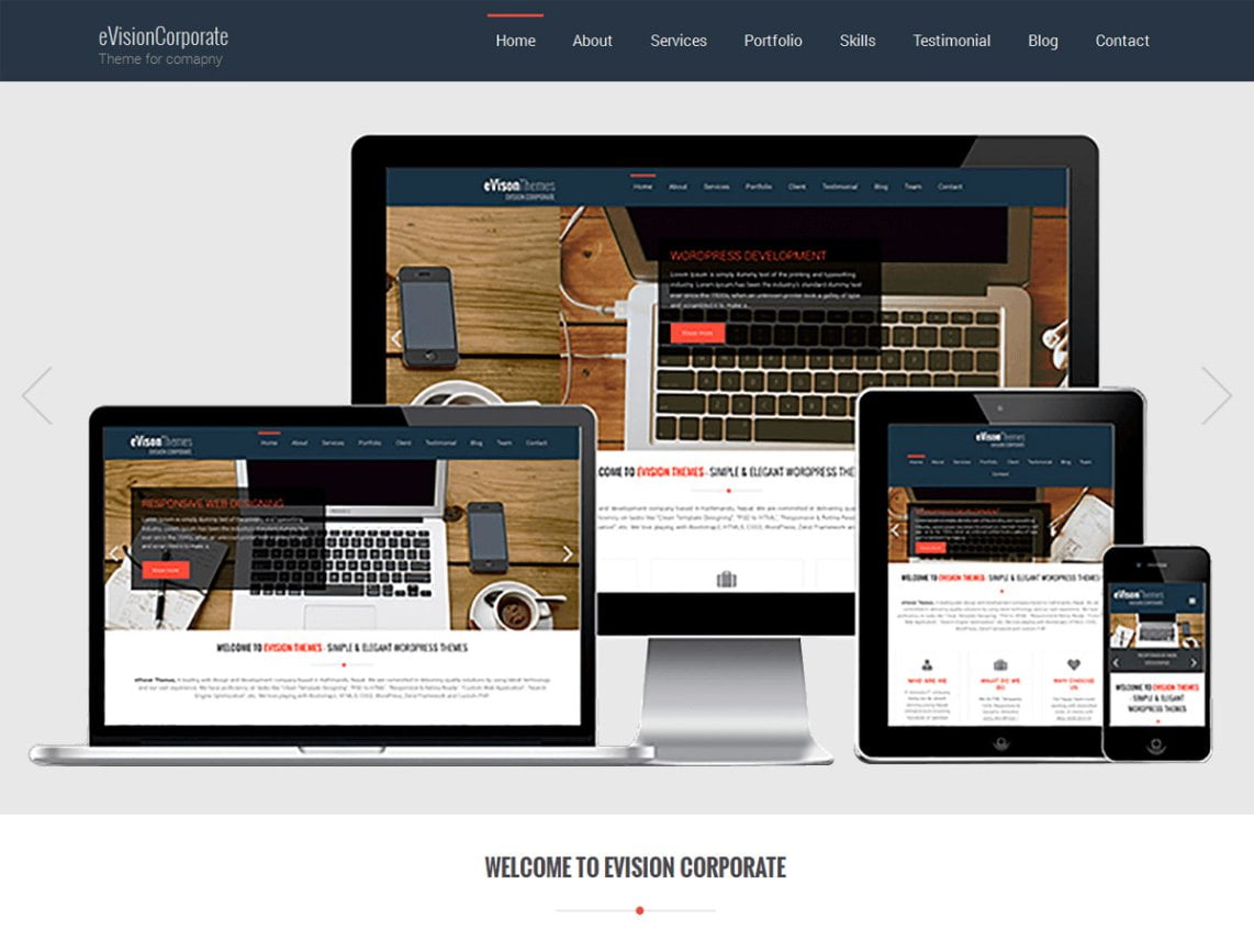 eVision-Corporate - 46+ Best Free WordPress One Page Themes [year]