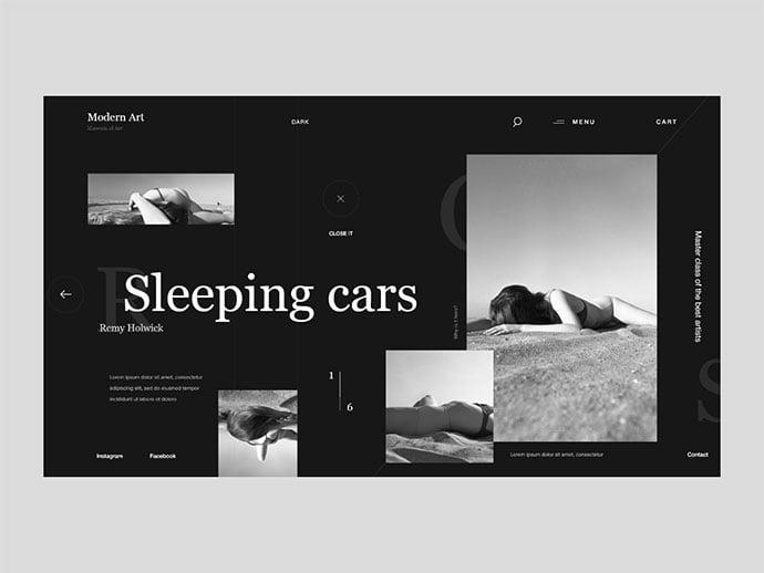 11 - 63+ Incredible Free Black & White Web UI Designs [year]