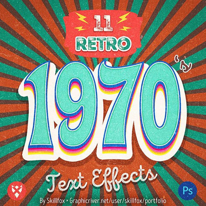 1970's-Retro-Text-Effects - 36+ Amazing Fun & Playful Typography Photoshop Text Effects [year]