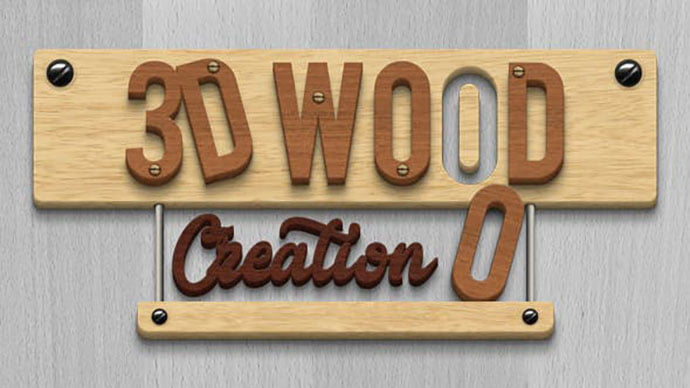 3D-Wood-Creation-Mockup - 36+ Amazing Fun & Playful Typography Photoshop Text Effects [year]