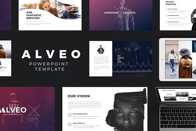 Alveo - 36+ Nice PowerPoint Portfolio Showcasing Templates [year]