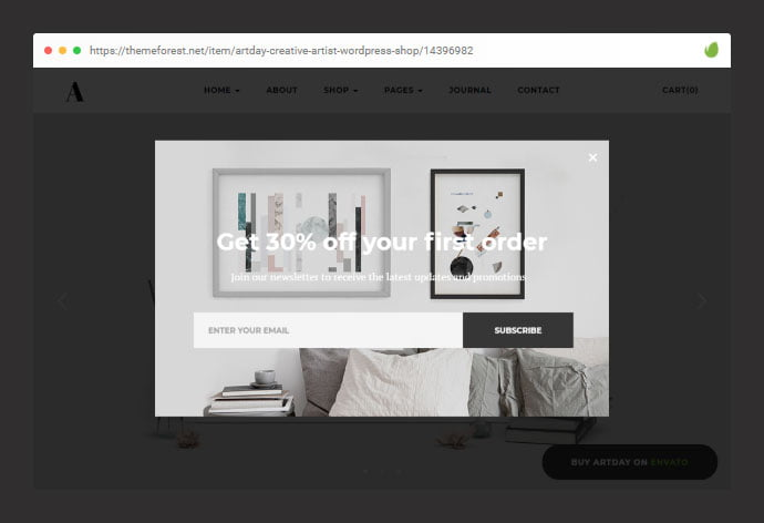 Artday - 36+ Important WordPress Ecommerce Themes For Popup Designs [year]