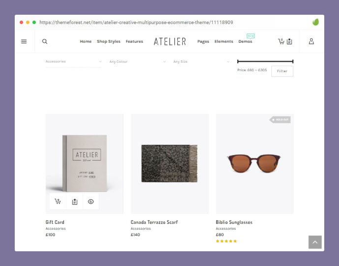 Atelier - 36+ Great Product Filtering WordPress E-commerce Themes [year]