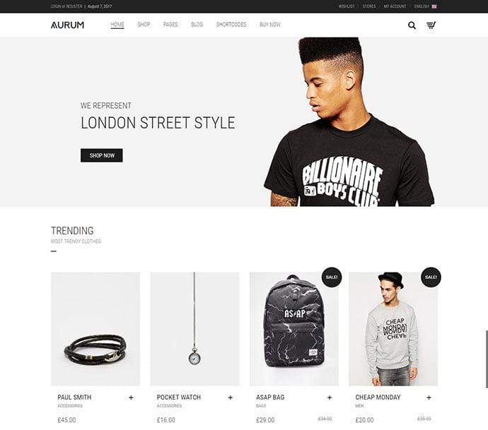 Aurum - 34+ Impressive WordPress Minimal eCommerce Themes [year]