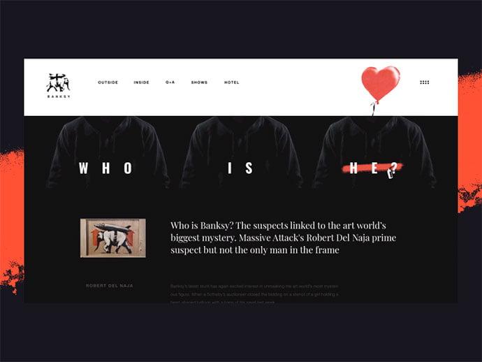 Banksy-Art - 63+ Incredible Free Black & White Web UI Designs [year]