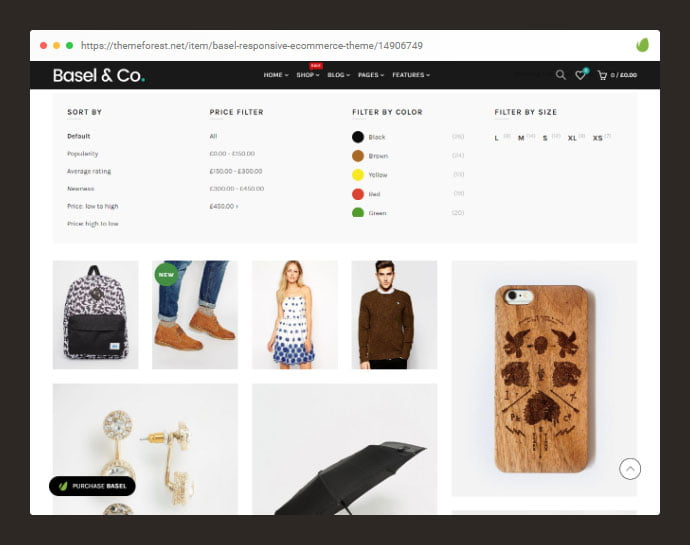 Basel - 36+ Great Product Filtering WordPress E-commerce Themes [year]