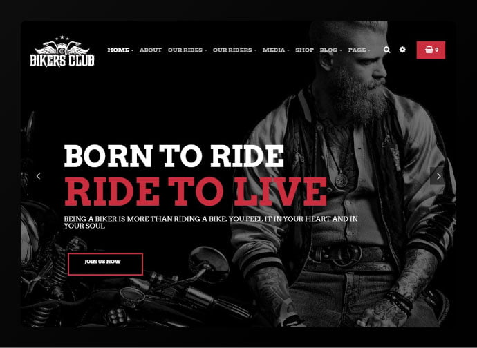 Bikersclub - 34+ Awesome WordPress Club Themes to Create Your Website [year]