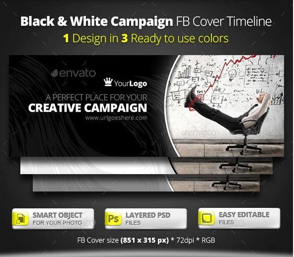 Black-White-Campaign-FB-Cover - 63+ Incredible Free Black & White Web UI Designs [year]