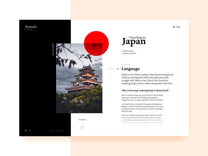 Blog-Layout-Travel-to-Japan - 63+ Incredible Free Black & White Web UI Designs [year]