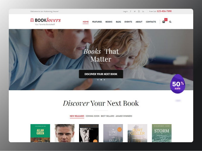 Booklovers - 34+ Awesome WordPress Club Themes to Create Your Website [year]