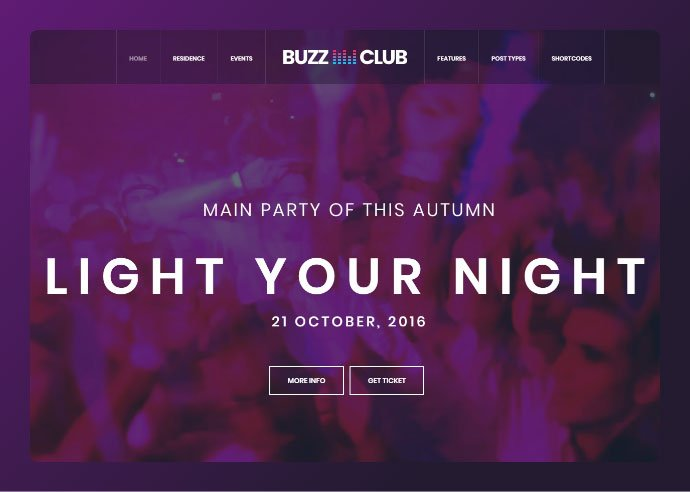Buzz-Club - 34+ Awesome WordPress Club Themes to Create Your Website [year]