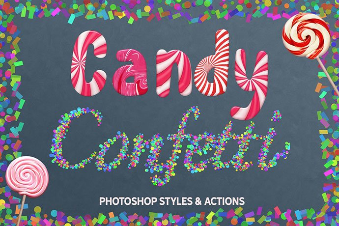 Candy-and-Confetti-Styles-Photoshop - 36+ Amazing Fun & Playful Typography Photoshop Text Effects [year]