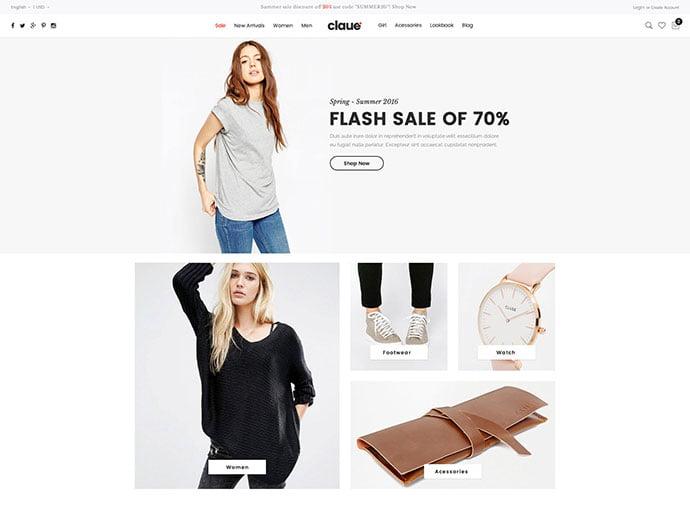 Claue - 34+ Impressive WordPress Minimal eCommerce Themes [year]