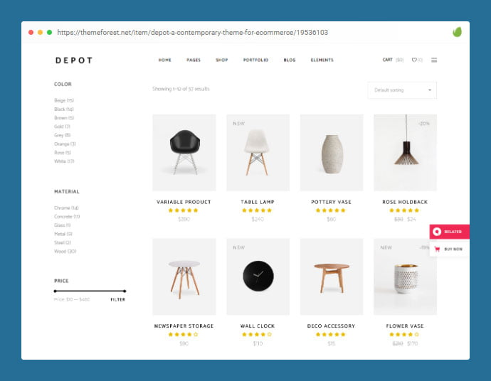 Depot - 36+ Great Product Filtering WordPress E-commerce Themes [year]