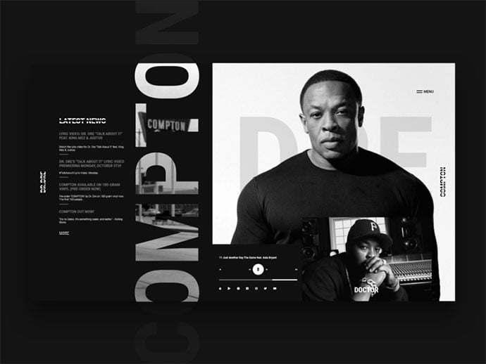 Dr.Dre_ - 63+ Incredible Free Black & White Web UI Designs [year]