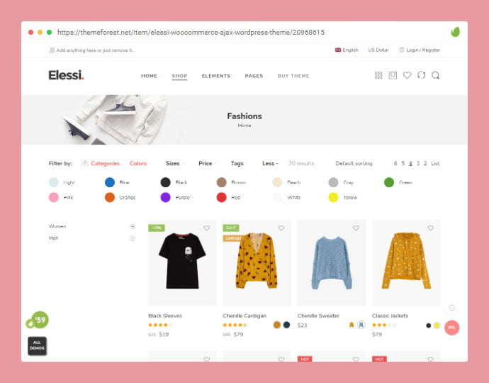 Elessi - 36+ Great Product Filtering WordPress E-commerce Themes [year]