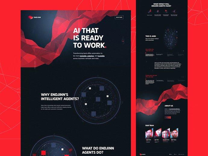 Endjinn-Full-Website - 63+ Incredible Free Black & White Web UI Designs [year]