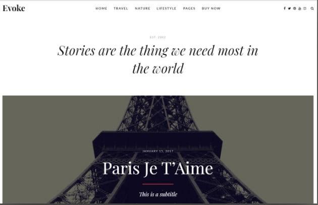 Evoke - 37+ Nice WordPress Photography Blog Themes [year]