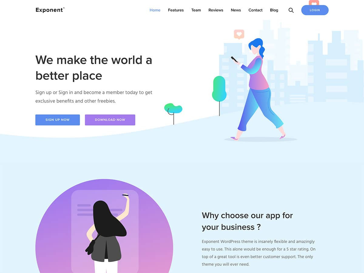 Exponent - 40+ Nice WordPress Themes For App Showcase [year]