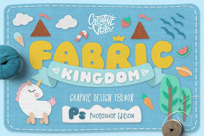 Fabric-Kingdom-Photoshop-Edition - 36+ Amazing Fun & Playful Typography Photoshop Text Effects [year]