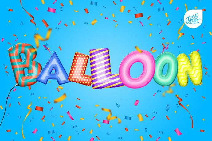 Foil-Balloon-Text-Effect-Action - 36+ Amazing Fun & Playful Typography Photoshop Text Effects [year]