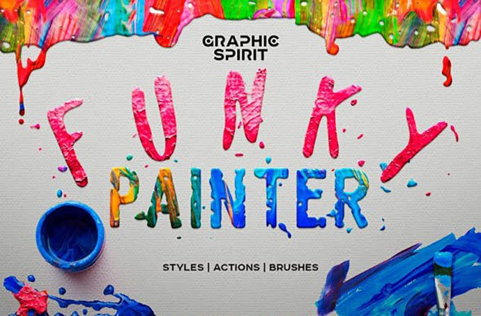 Funky-Painter-Photoshop-Creative-Kit - 36+ Amazing Fun & Playful Typography Photoshop Text Effects [year]