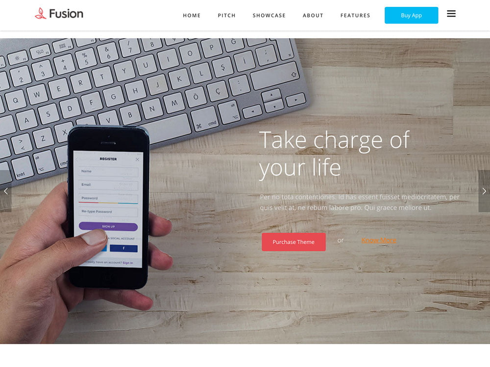 Fusion - 40+ Nice WordPress Themes For App Showcase [year]
