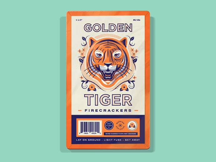 Golden-Tiger-Firecrackers - 40+ Nice Halftone Showcase Designs Template [year]