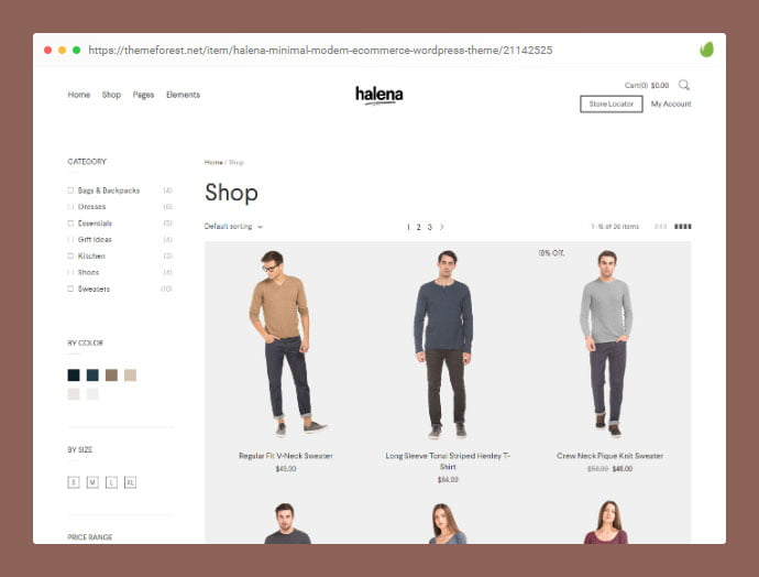 Halena - 36+ Great Product Filtering WordPress E-commerce Themes [year]