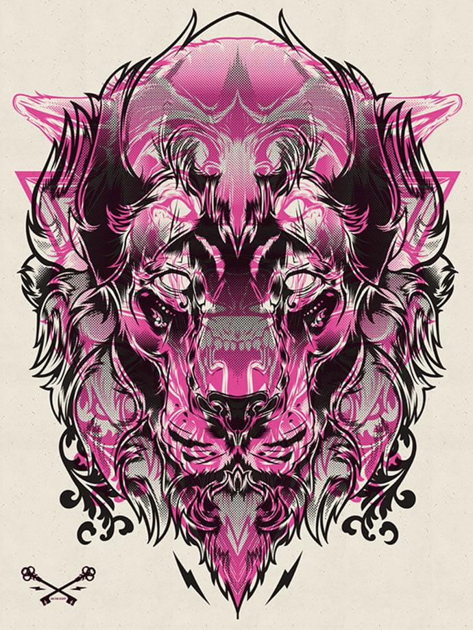 Halftone-Print-Series-–-Wolf-Lion - 40+ Nice Halftone Showcase Designs Template [year]