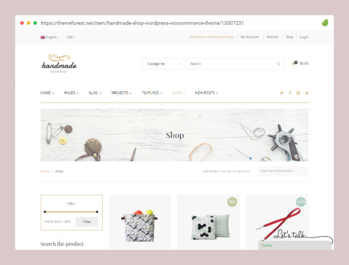 Handmade - 36+ Great Product Filtering WordPress E-commerce Themes [year]