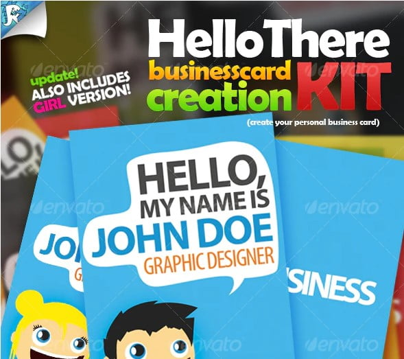 Hello-There-Business-Card - 36+ Impressive Business Card Designs With Visual Impact [year]