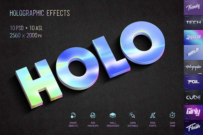 Holographic-Text-–-10-PSD - 36+ Amazing Fun & Playful Typography Photoshop Text Effects [year]