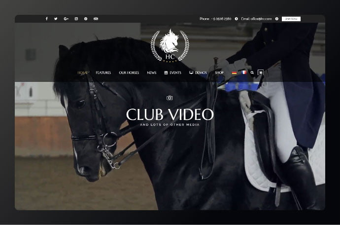 Horse-Club - 34+ Awesome WordPress Club Themes to Create Your Website [year]