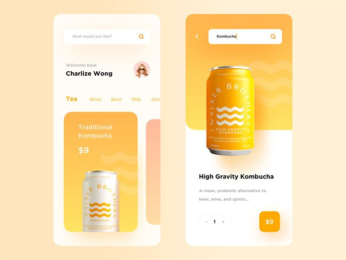 Kombucha - 51+ Stunning Food & Drink Mobile App UI Design Sample [year]