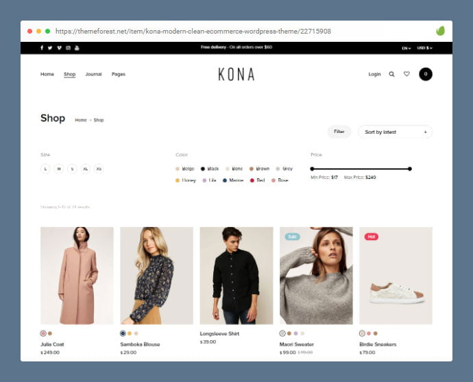 Kona - 36+ Great Product Filtering WordPress E-commerce Themes [year]