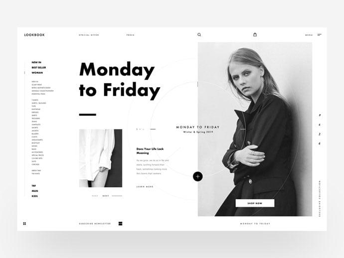 Lookbook-Black-White - 63+ Incredible Free Black & White Web UI Designs [year]